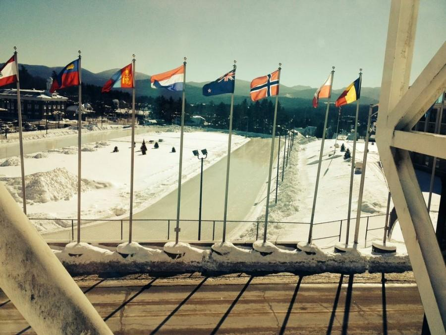 Nations' flags in former Winter Olympic host city, Lake Placid, New York