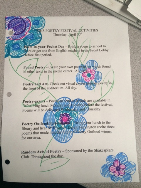 Poetry Festival schedule of events.