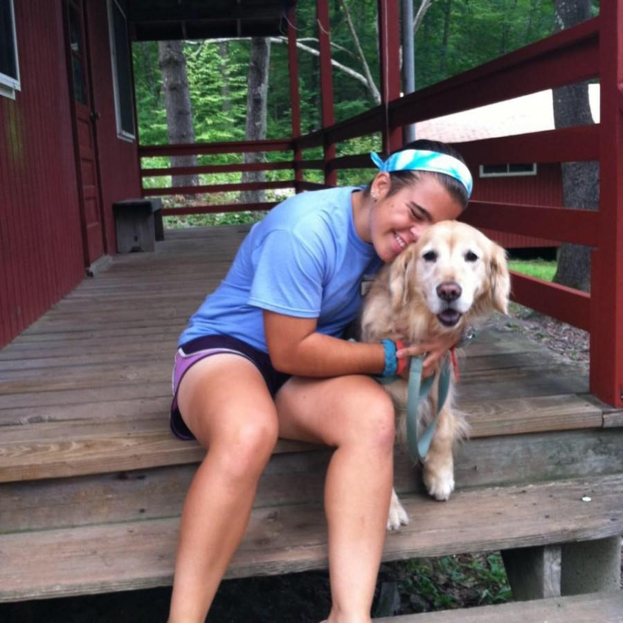 Helene and her beloved dog, Dorada, at YMCA Camp Mohawk for girls. Helene will be spending this summer working as a nature camp counselor, then will be travelling for her gap year.
