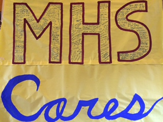 MHS Cares poster in MHS Lobby