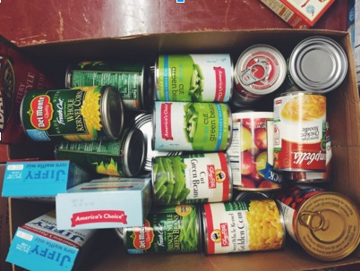One of the many boxes collected for the food drive