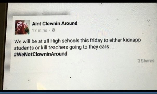 A clown's threatening and gramatically-flawed Facebook post