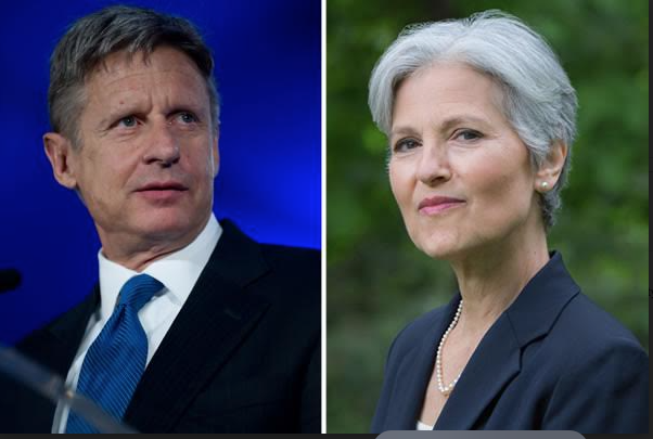 Gary Johnson of the Libertarian Party and Jill Stein of the Green Party