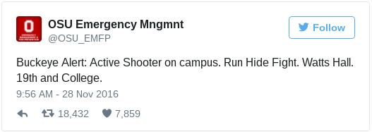 Tweet sent out for students protection.