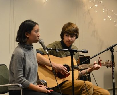 Brian Culligan and Whitney Xu performing at Glyphs Winter 2015 Coffeehouse