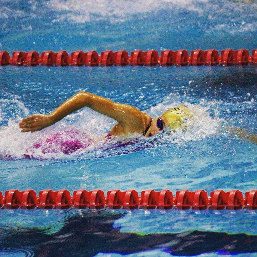 Laurel Carey swimming freestyle