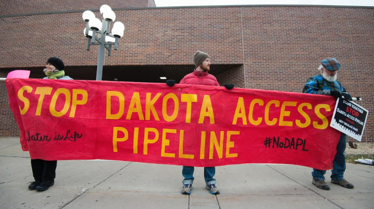 Protestors fighting against the Dakota Access Pipeline