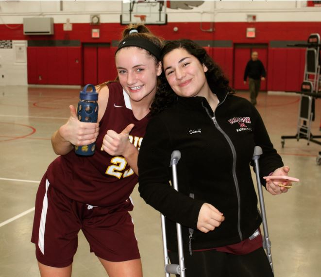 Captains, Catherine Crowley and Mitra Shariff smiling big after the team's win against Parsipanny.