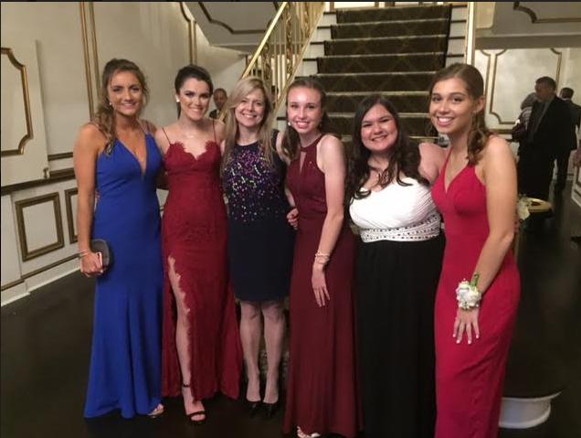 MDO senior girls and adviser at prom