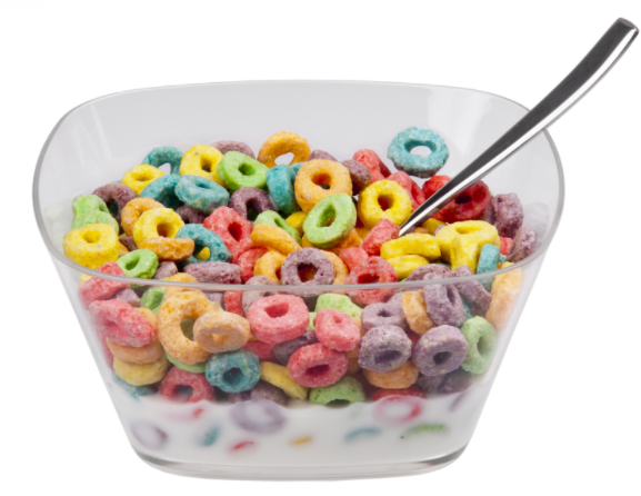 A bowl of Froot Loops.