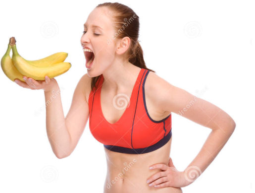 Woman dramatically eating a banana (Google Common License)