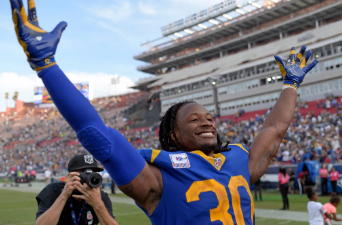 Todd Gurley celebrating the win against the Packers (Photo credits Jake Roth)