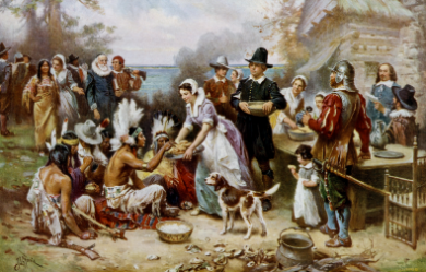 A painting of the first Thanksgiving feast  (Google Common License)